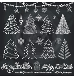 Christmas tree ballsdecortitlesChalkboard vector image