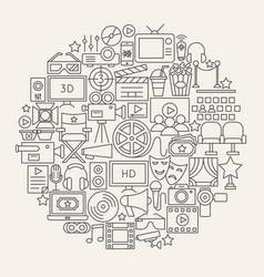 cinema line icons circle vector image