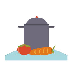 cooking pot and vegetables vector image