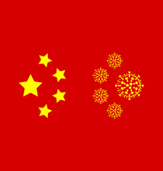 Coronavirus virus cells and chinese ensign stars vector