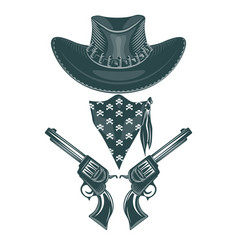 cowboy set hat revolvers and mask monochrome vector image