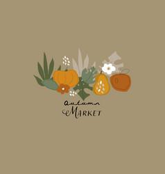 cute autumn harvest seasonal greeting cards vector image