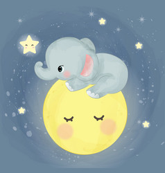 Cute elephant sitting on moon vector