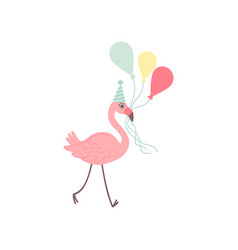 Cute flamingo wearing party hat holding colorful vector