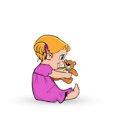 cute little baby girl in pink dress playing with vector image