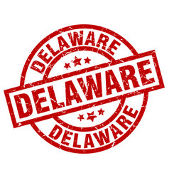 Delaware red round grunge stamp vector