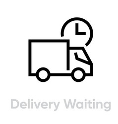 Delivery waiting truck icon editable line vector