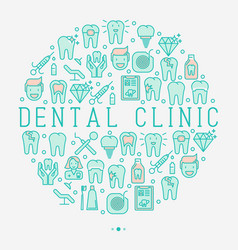 dental clinic concept in circle vector image