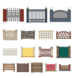 different fence cartoon icons in set collection vector image
