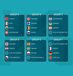 european soccer final tournament draw 2020 group vector image