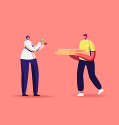 Express food delivery courier character deliver vector