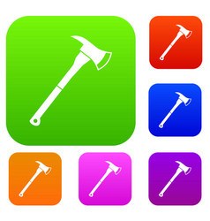 firefighter axe set collection vector image
