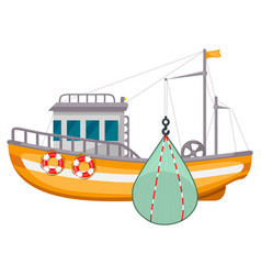 fishing ship icon sea harbor fishery equipment vector image