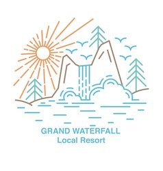 flat line waterfall vector image