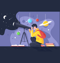 Flat young man with book and telescope studying vector