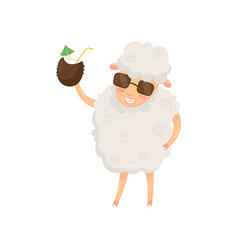 Funny humanized sheep holding summer cocktail in vector