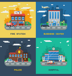 Government buildings 2x2 flat design concept vector