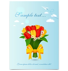 Greeting card with bouquet spring tulips vector