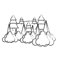 grunge nature pine tree with clouds landscape vector image