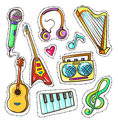 hand drawn color musical instruments set vector image