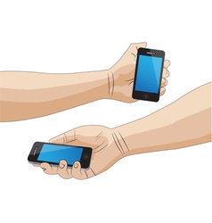 Hand holding a smartphone isolated vector image