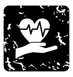 Hand holding heart icon grunge style vector image