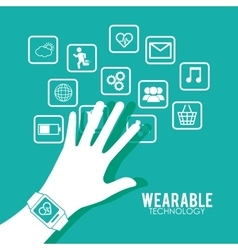 Hand wearing smart watch wearable technology vector
