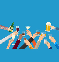 hands group holding glasses vector image