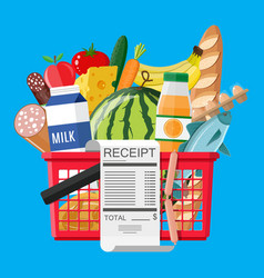 Hhopping basket full of groceries and receipt vector