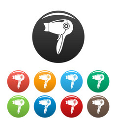 hot hair dryer icons set color vector image