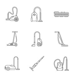 house vacuum cleaner icon set outline style vector image