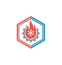 hvac cooling and heating logo design vector image