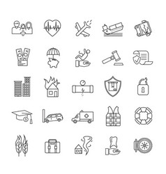 insurance elements black thin line icon set vector image