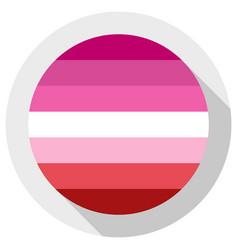 Lipstick lesbian flag round shape icon on white vector