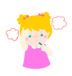 Little girl got high temperature cartoon vector
