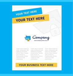 locked folder title page design for company vector image