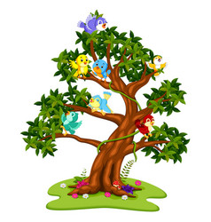 many birds cartoon on the trees vector image