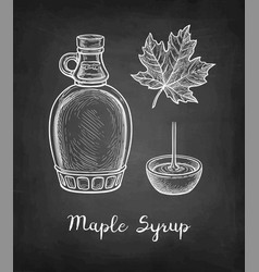 Maple syrup chalk sketch vector