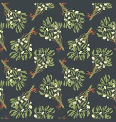 Mistletoe seamless pattern vintage style vector