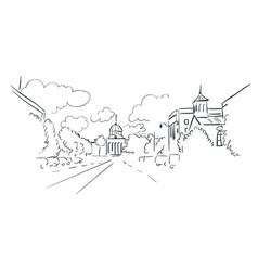 Montgomery alabama sketch line usa landscape hand vector