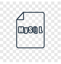 Mysql concept linear icon isolated on transparent vector