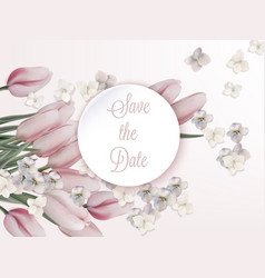 pink tulips card wedding save the date vector image