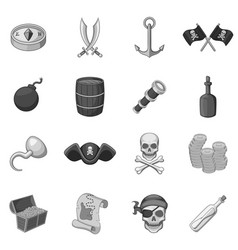 Pirate culture symbols icons set monochrome vector