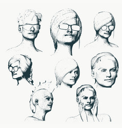 portraits of a ladies vector image