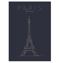 Poster paris eiffel tower dark vector