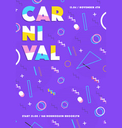 Purple carnival poster abstract memphis 80s 90s vector