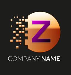 Purple letter z logo symbol in golden pixel circle vector