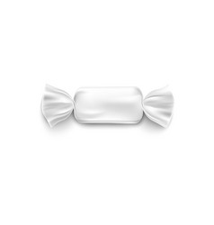 realistic white candy wrapper mockup - rectangle vector image