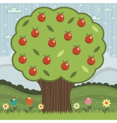 Red apple tree vector