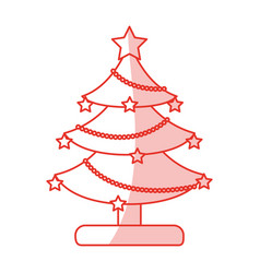 Red shading silhouette of decorated christmas tree vector